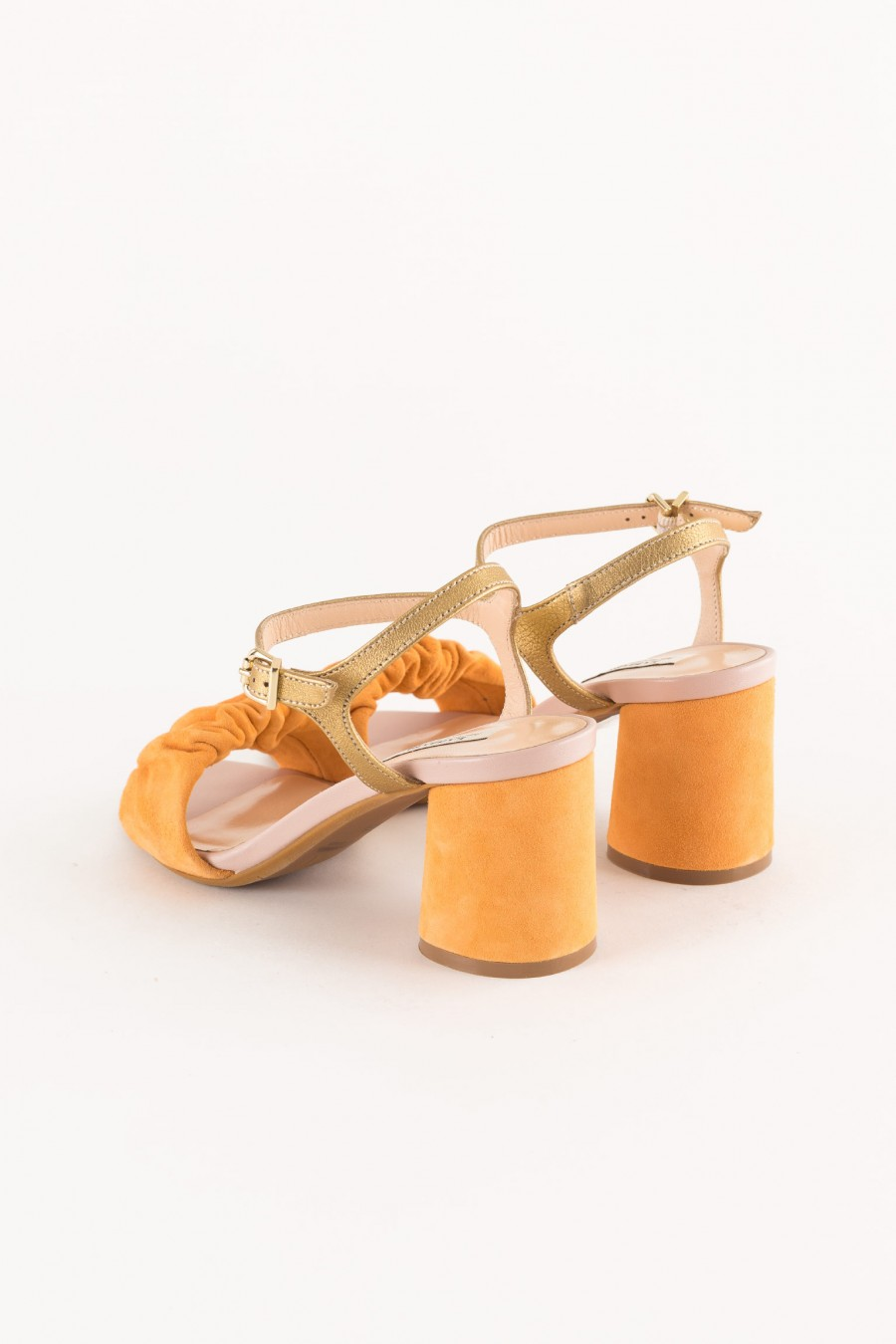 orange shoe rounded heel