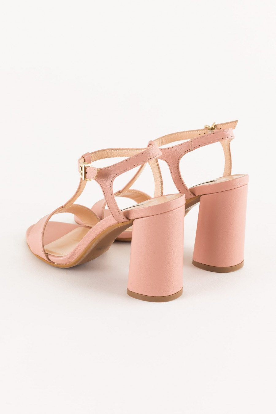pink T-bar sandal with rounded heel