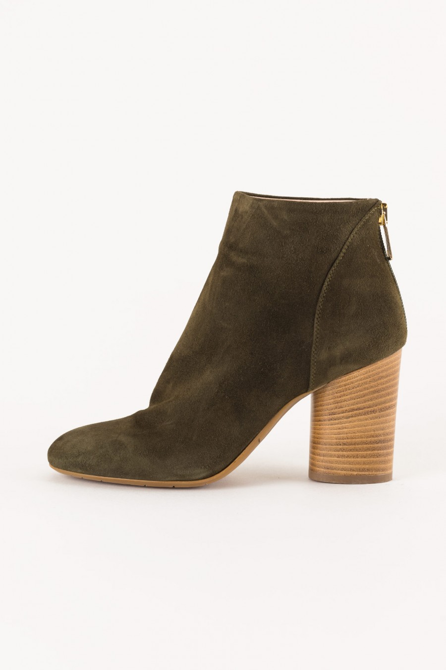 wooden heel ankle boot