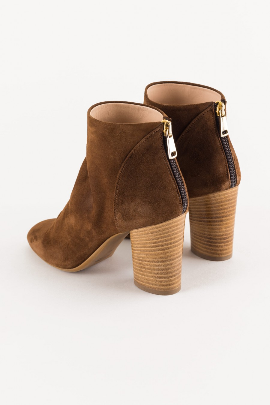brown suede boot with wooden heel