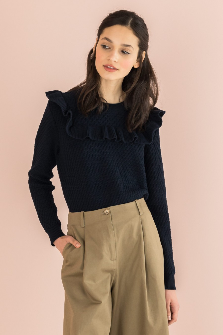 sweater with blue cotton ruffle