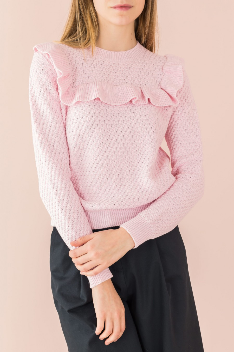 pink cotton sweater with ruffle