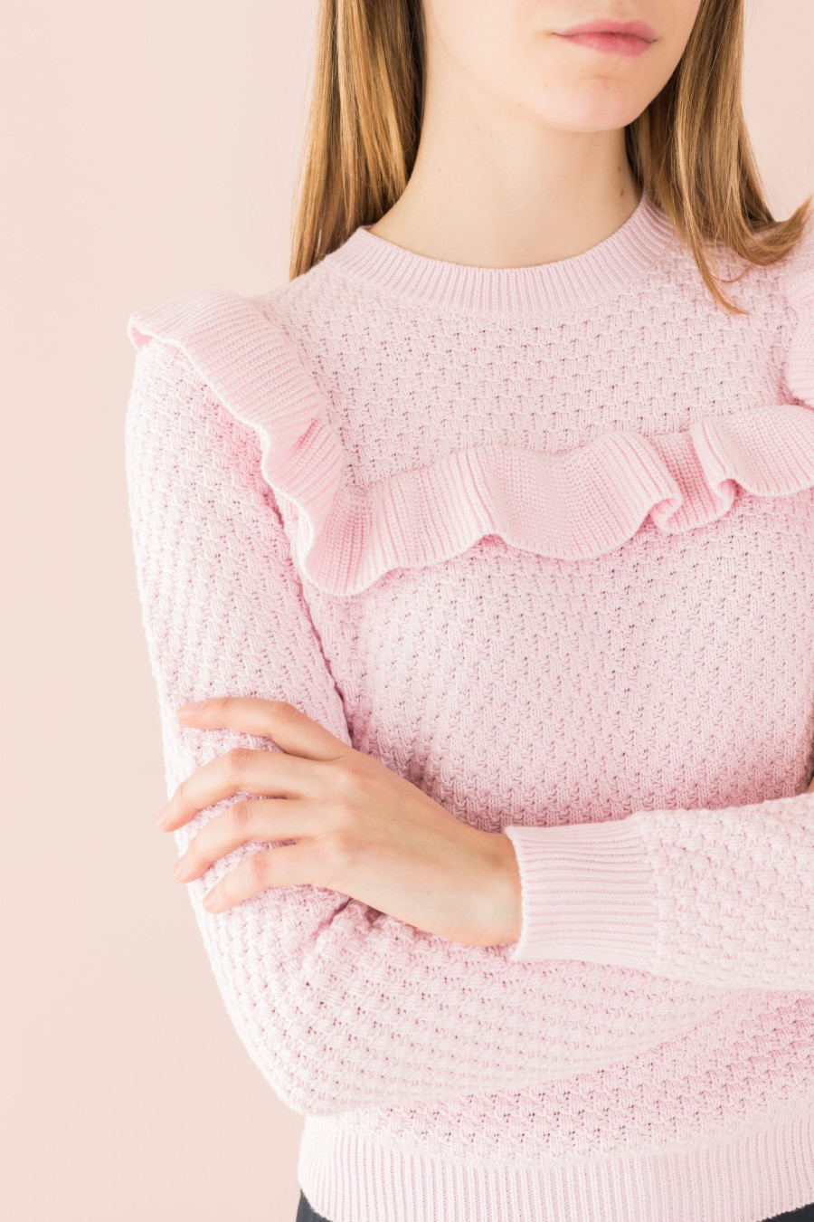 pink ruffle sweater