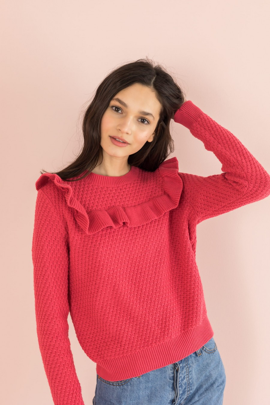 cyclamen cotton sweater with ruffle