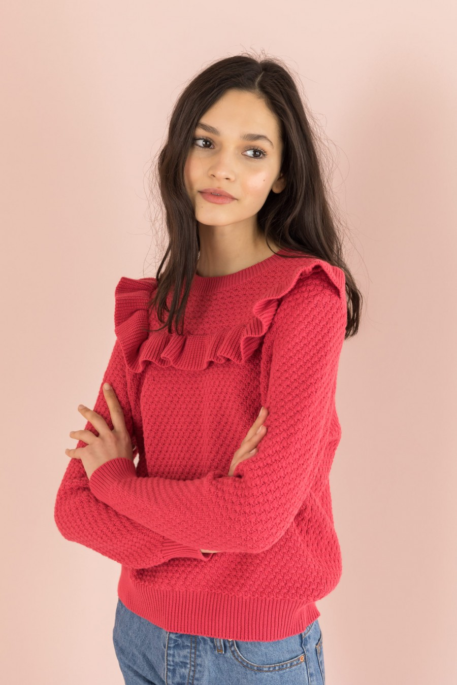 cyclamen ruffle sweater