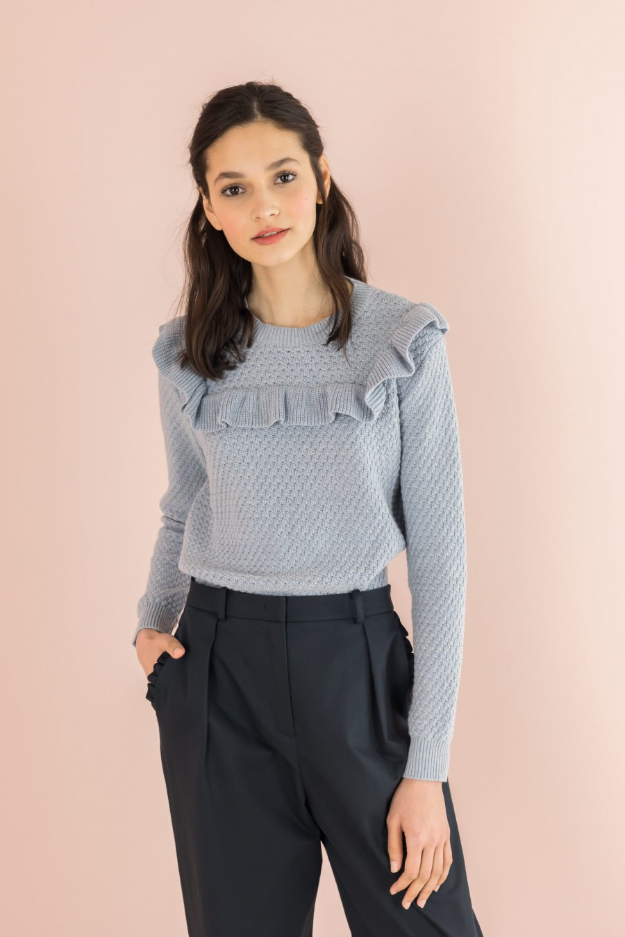 cotton sky color sweater with ruffle