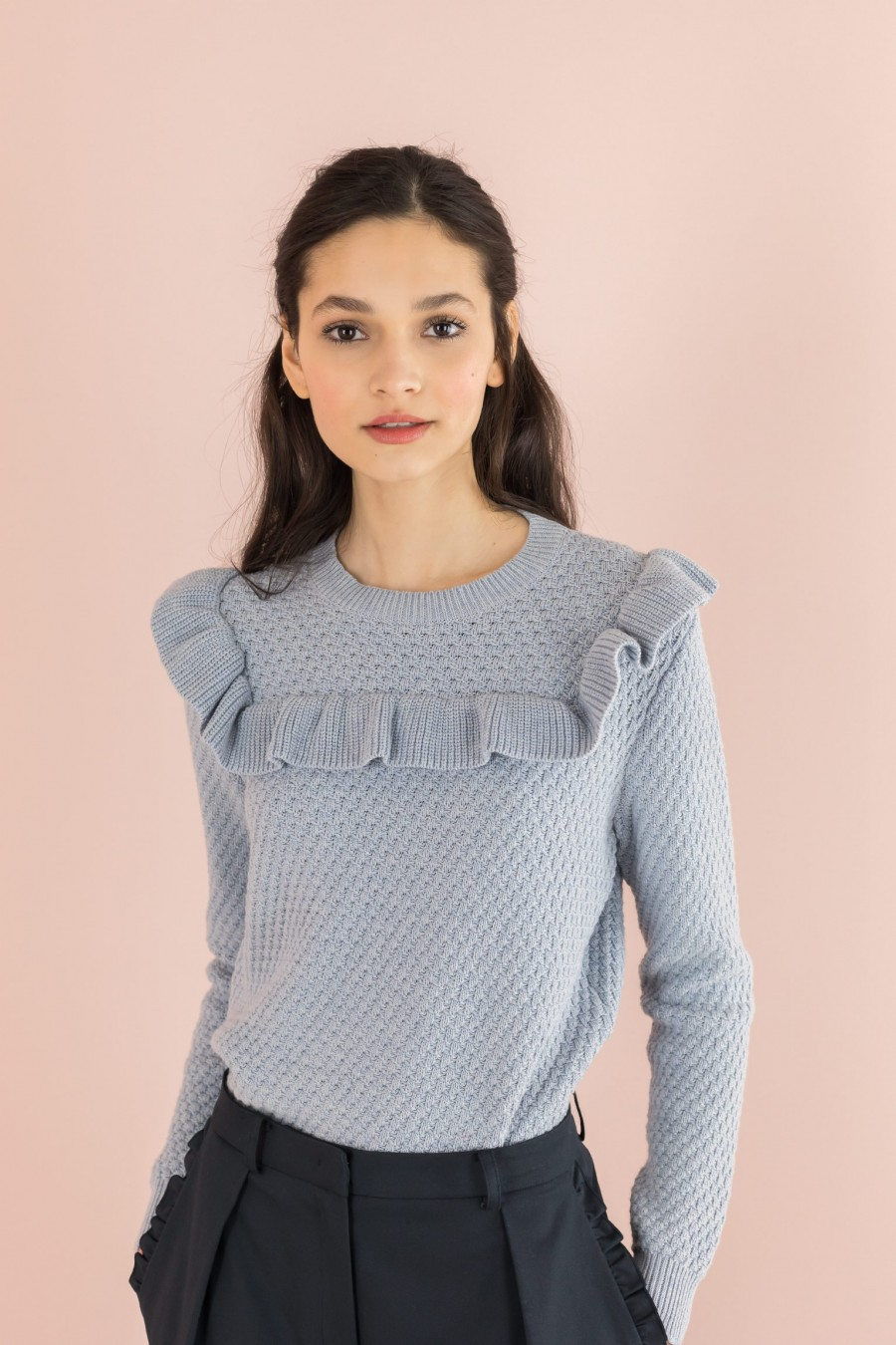 sky colored cotton sweater