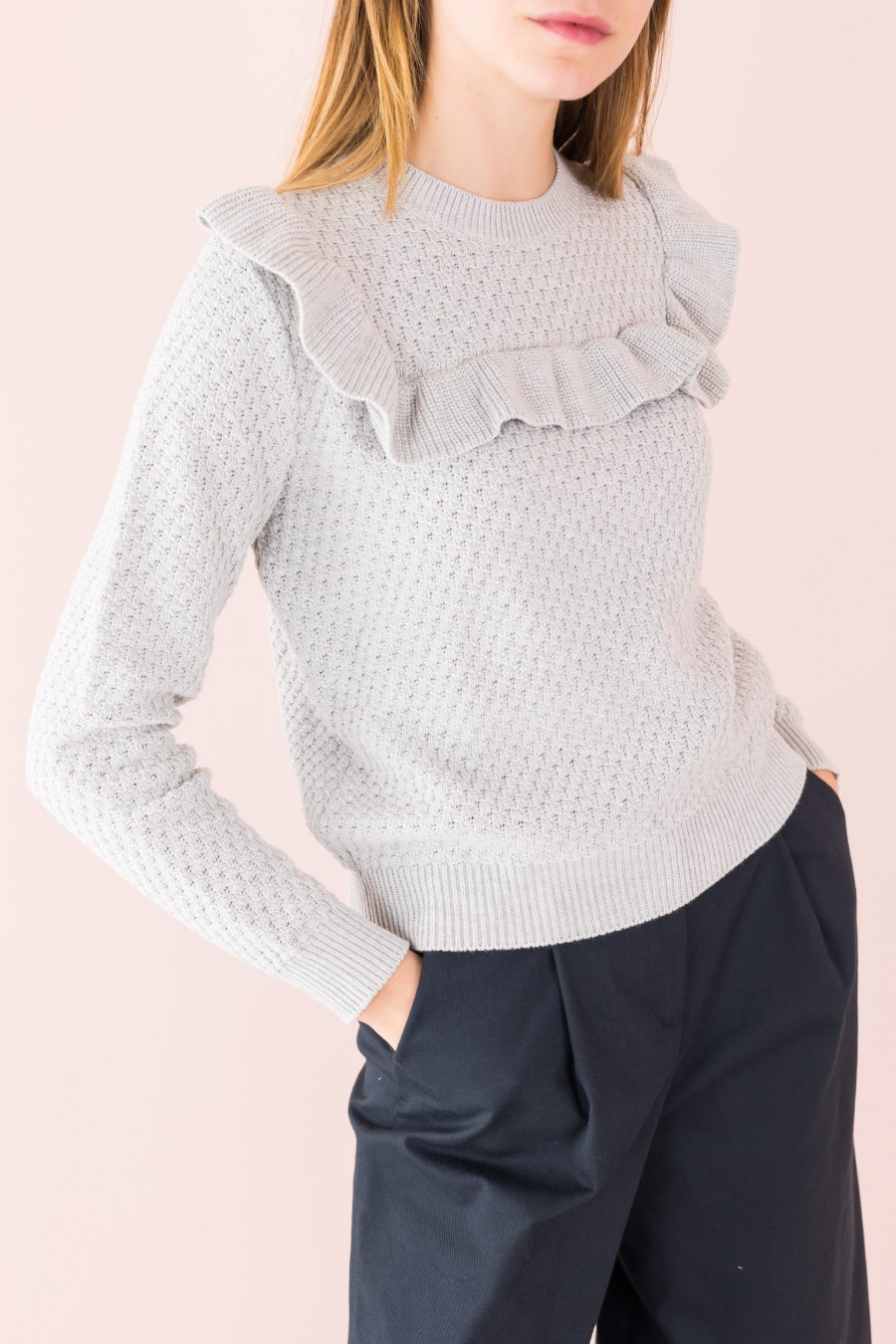 gray sweater with ruffles cotton