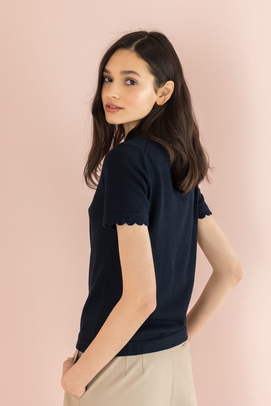 black polo t-shirt with scalloped sleeves