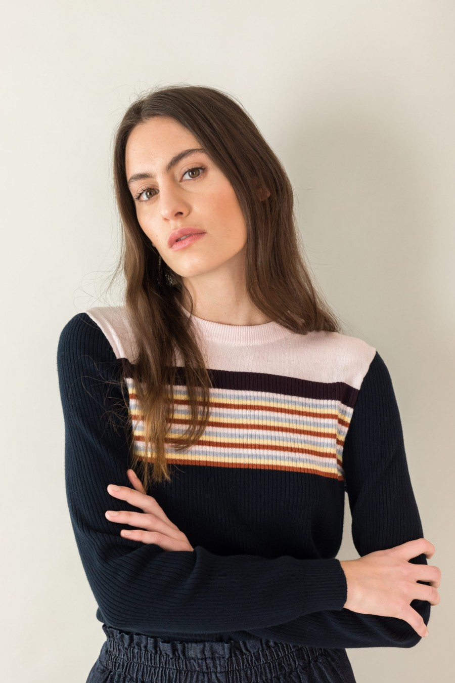 blue seventies sweater with striped yoke