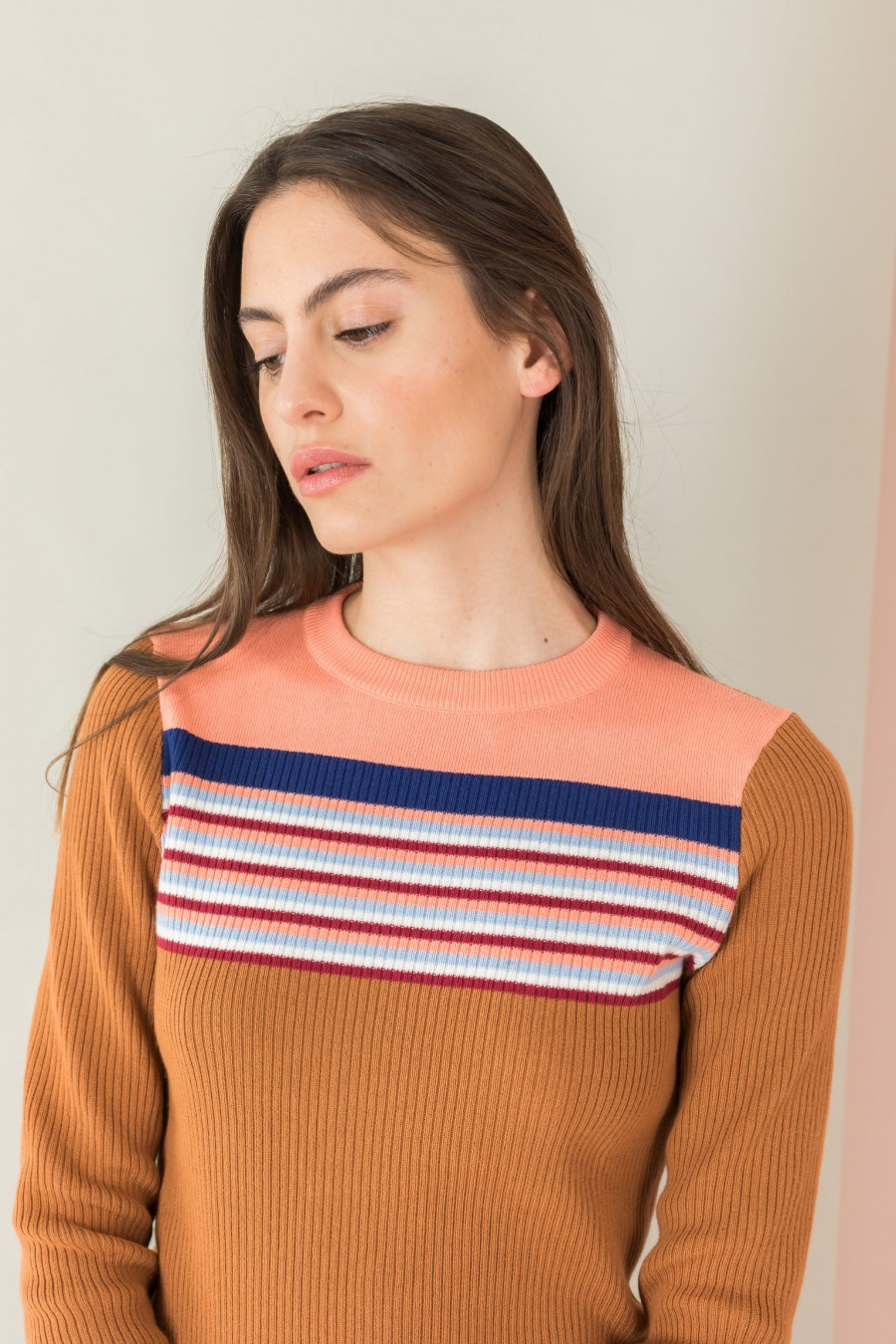 biscuit-colored sweater with striped yoke