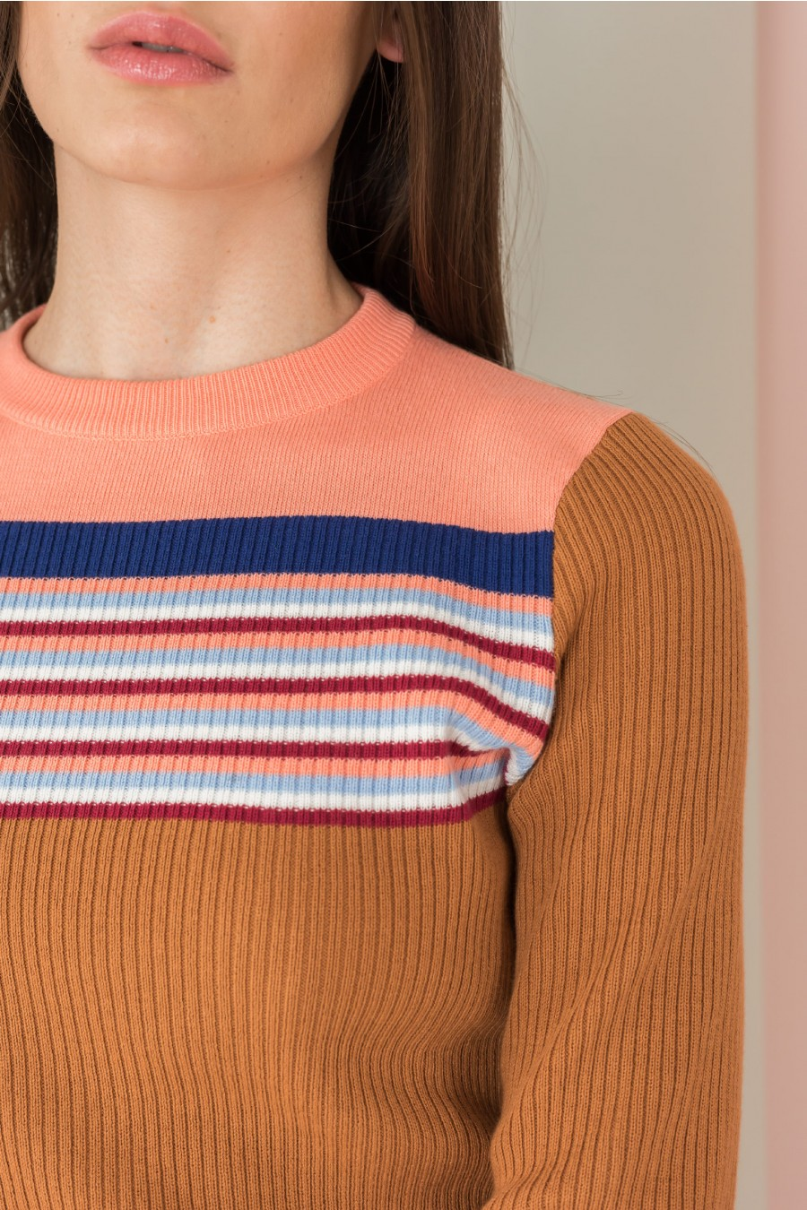 long sleeves shirt with striped yoke