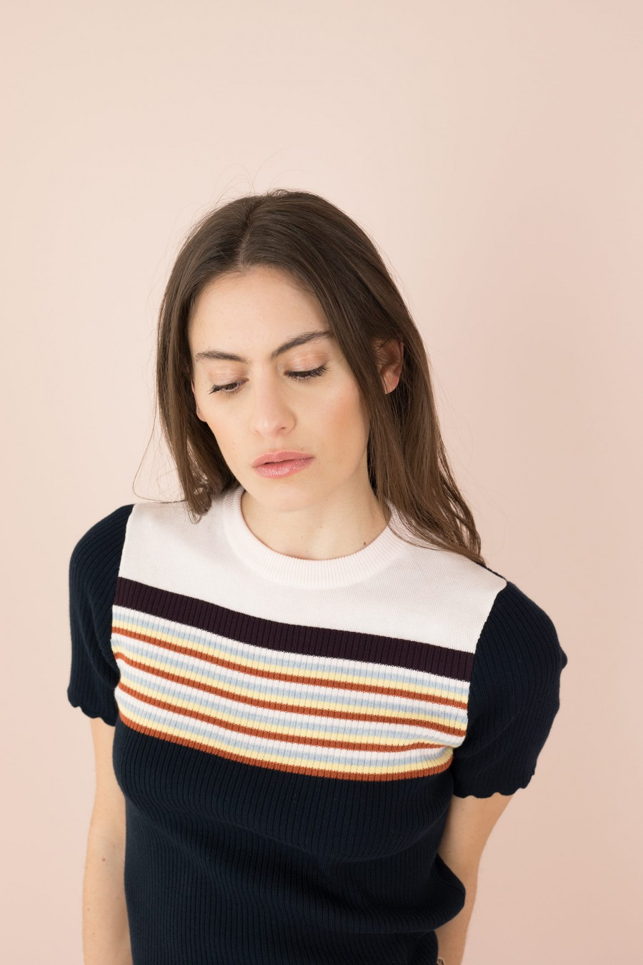 rounded collar blue sweater with striped yoke