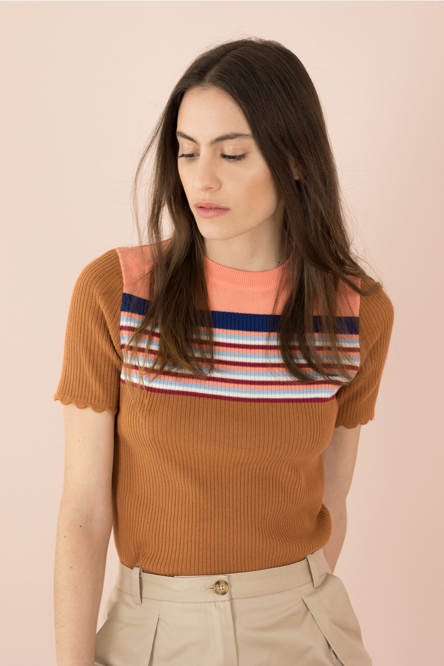 rounded collar brown sweater with striped yoke