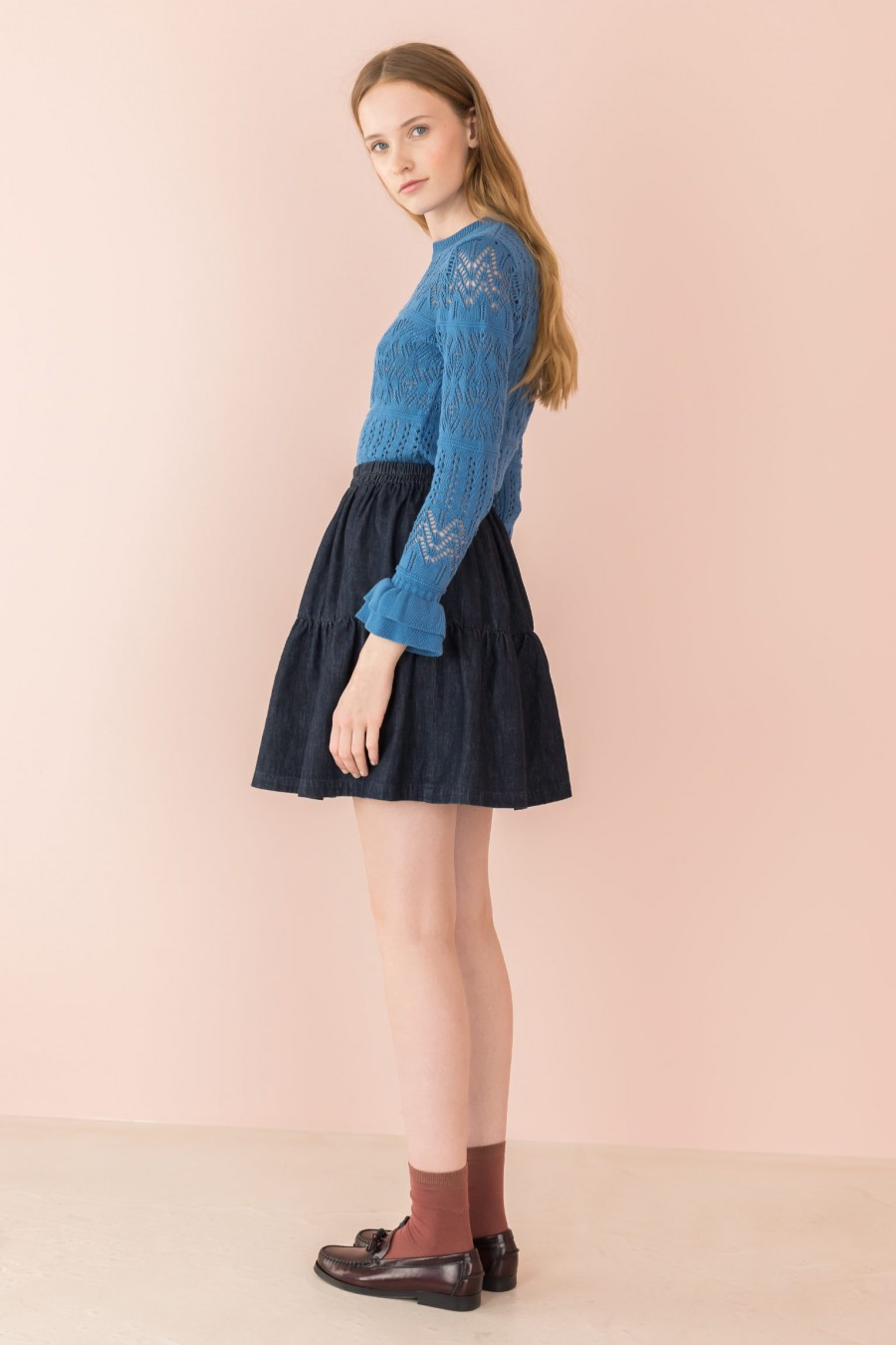 cornflower blue shirt with long sleeves