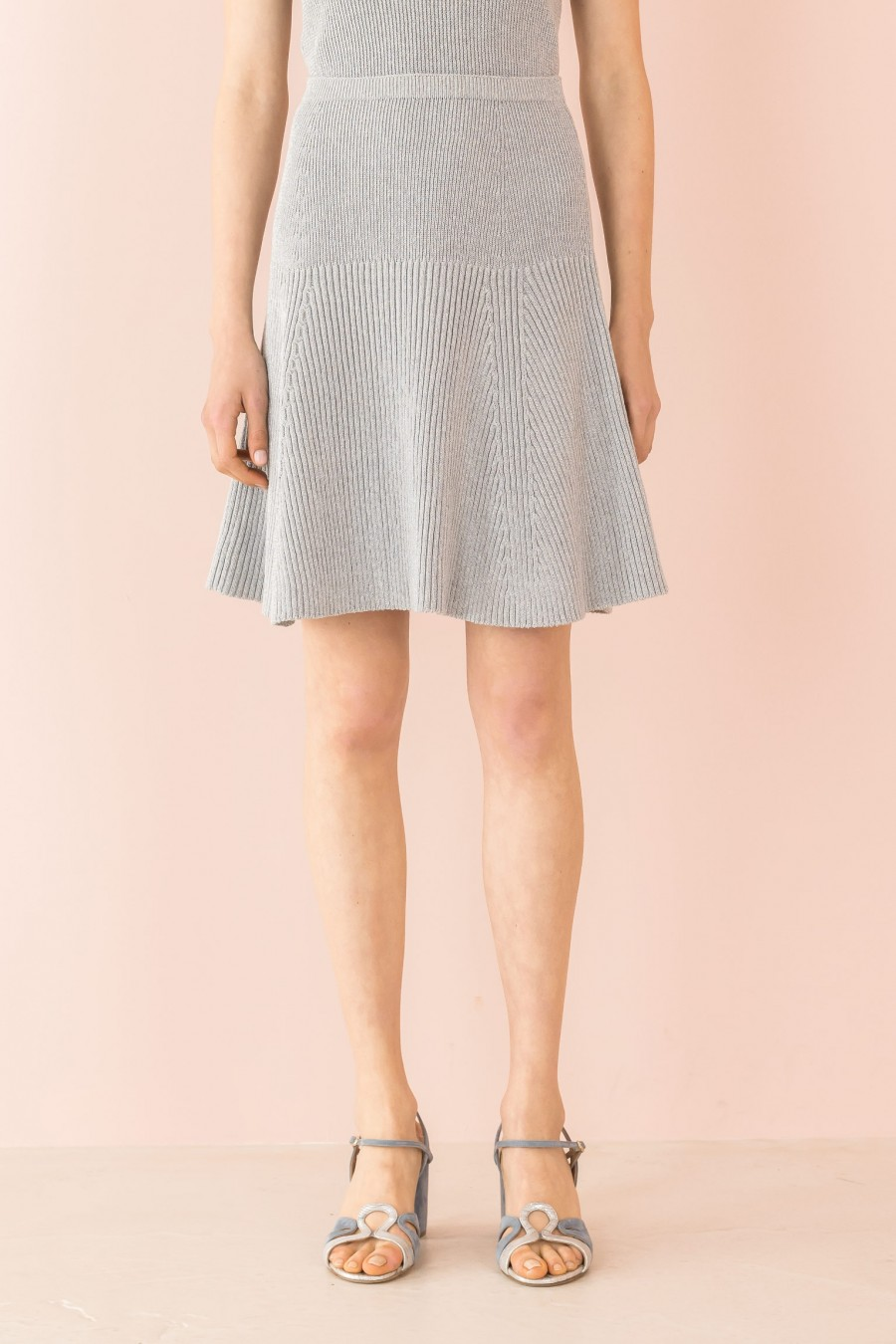 knitted lamè silver skirt