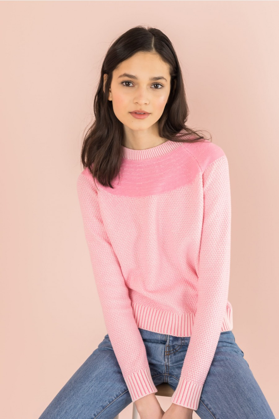 sweater with yoke in contrasting