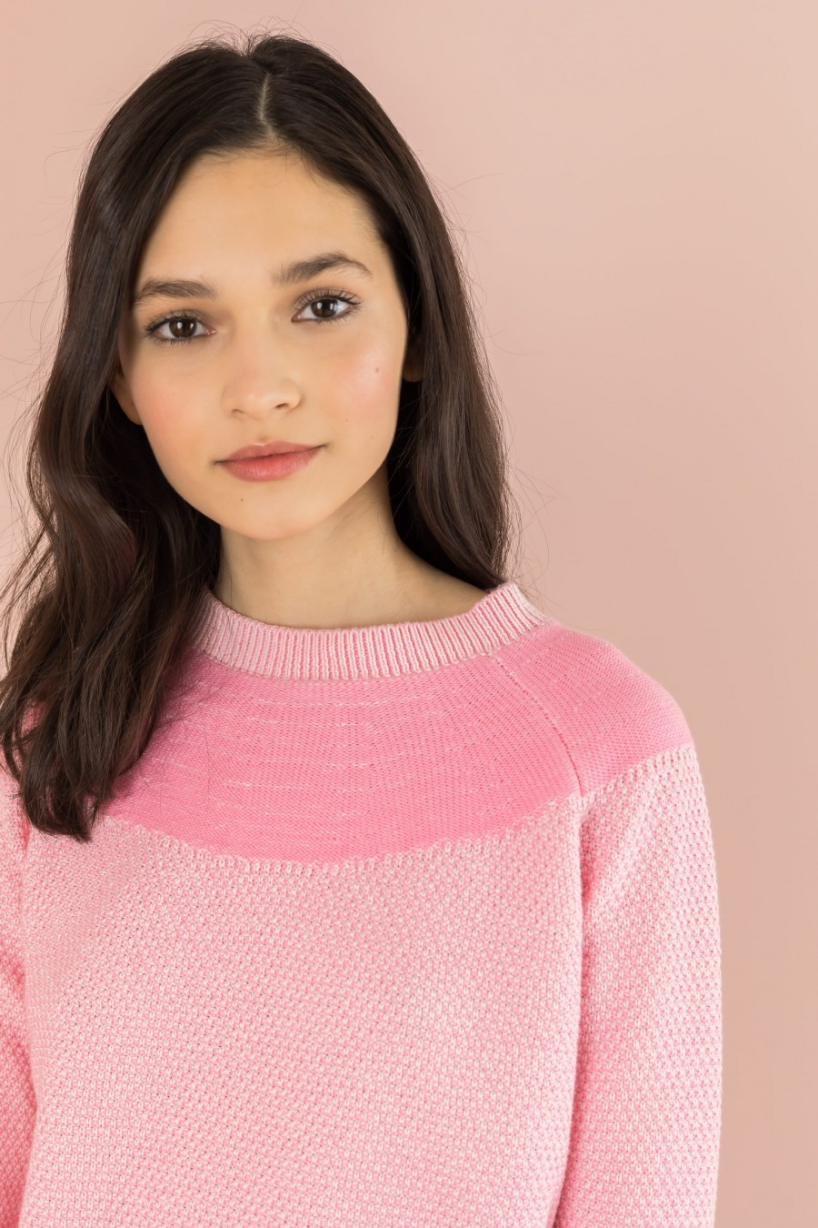 pink sweater with yoke in contrasting