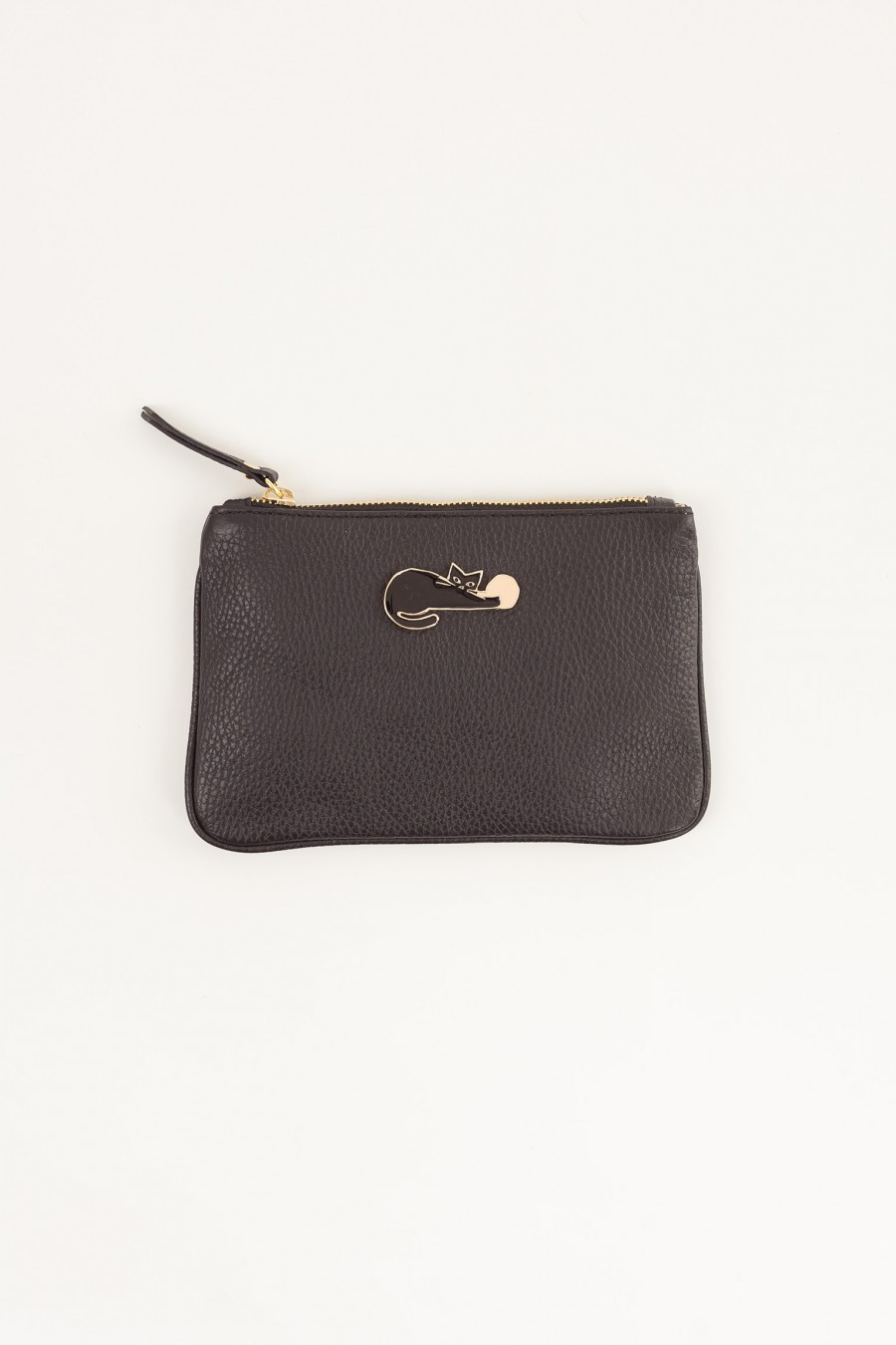 Leather case with enameled pin