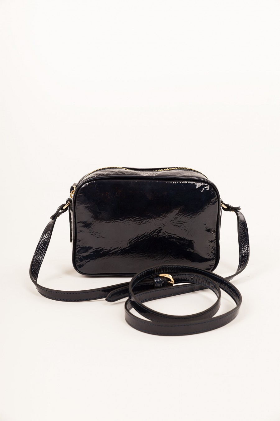 Shoulder bag in patent leather Blue Lazzari