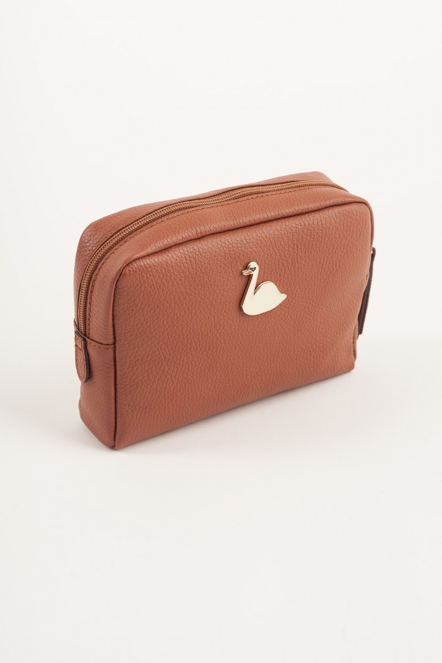 Big pochette with enameled swan brown leather