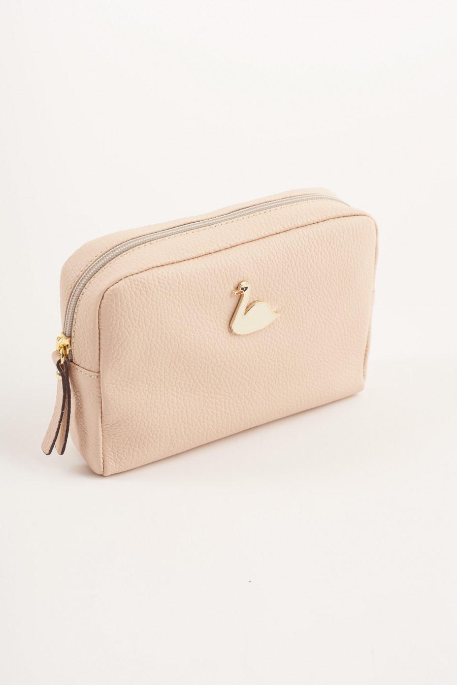 Big pochette with enameled swan baby pink