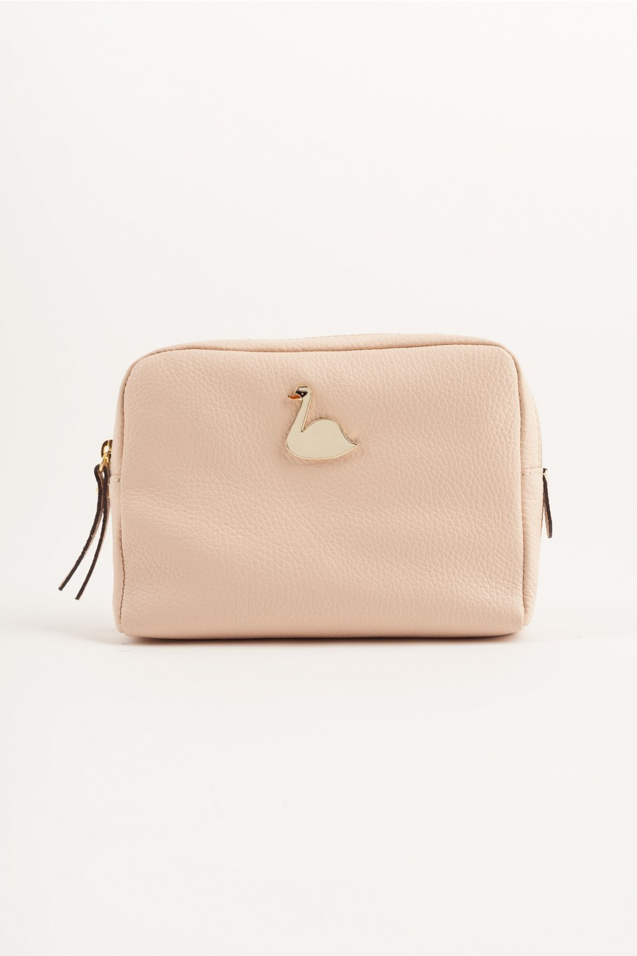 Big pochette with enameled swan pale pink
