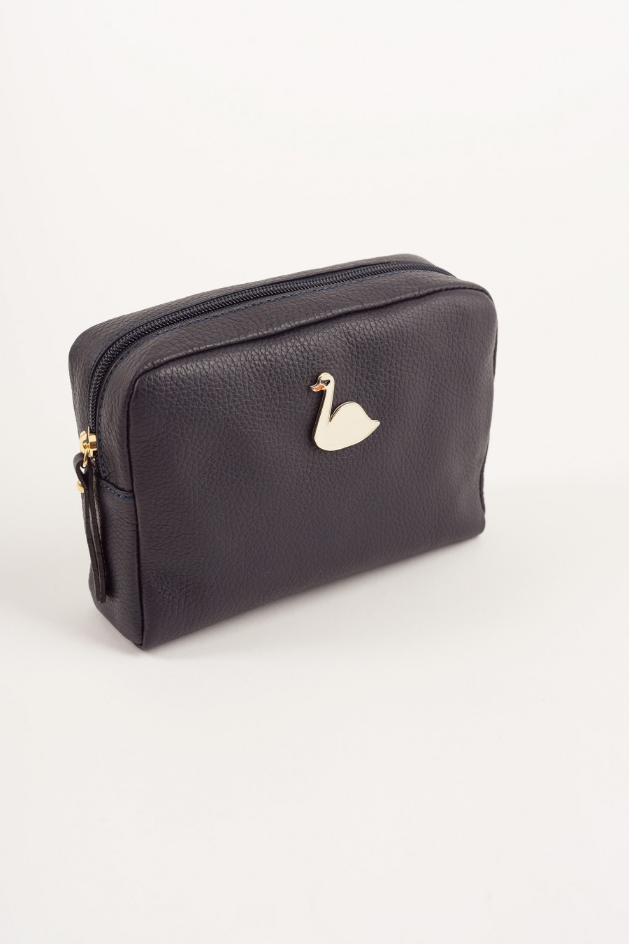 Big pochette with enameled swan blue