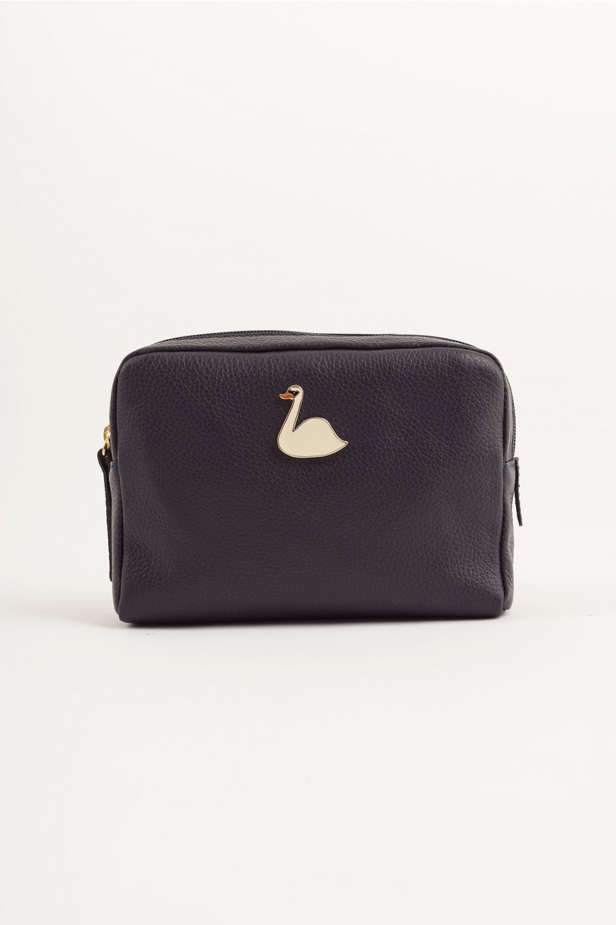 Big pochette with enameled swan dark blue