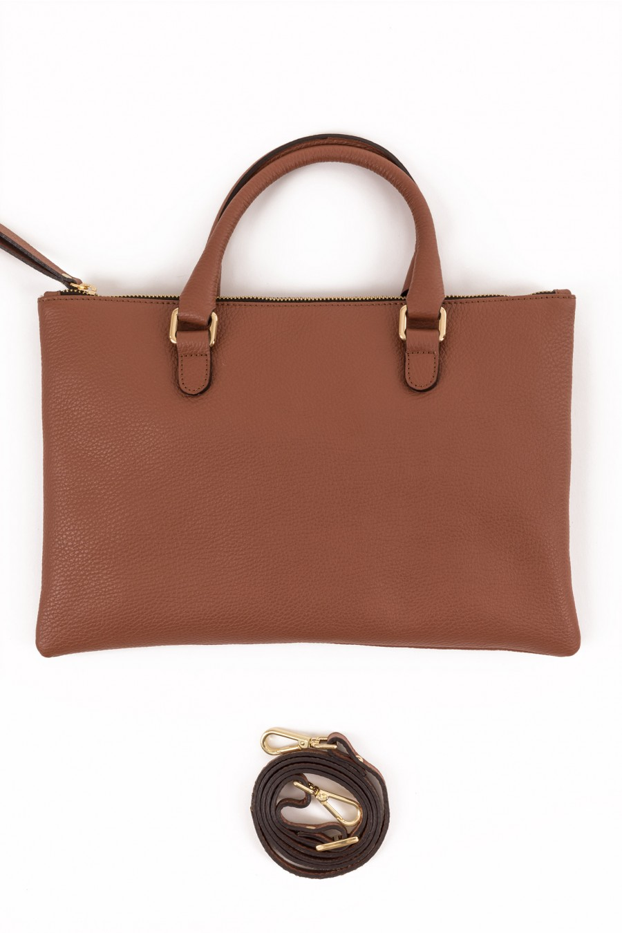 Leather brown flat purse