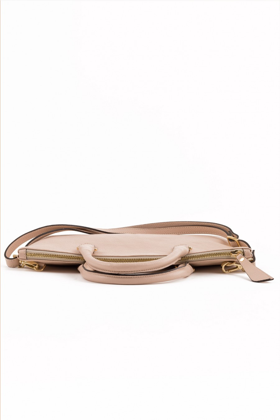 Pale pink with shoulder belt