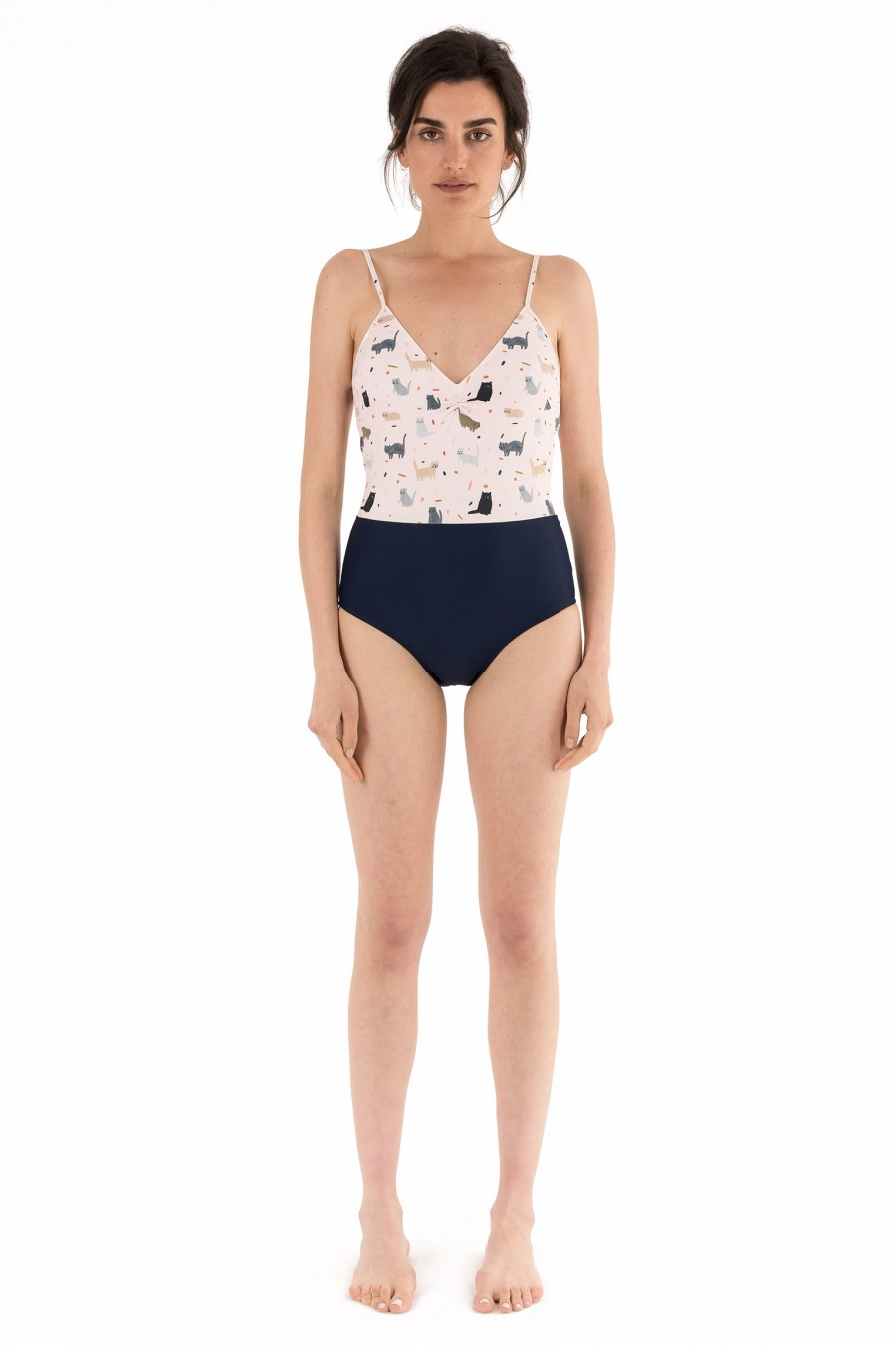 One-piece two-tone swimsuit with kittens