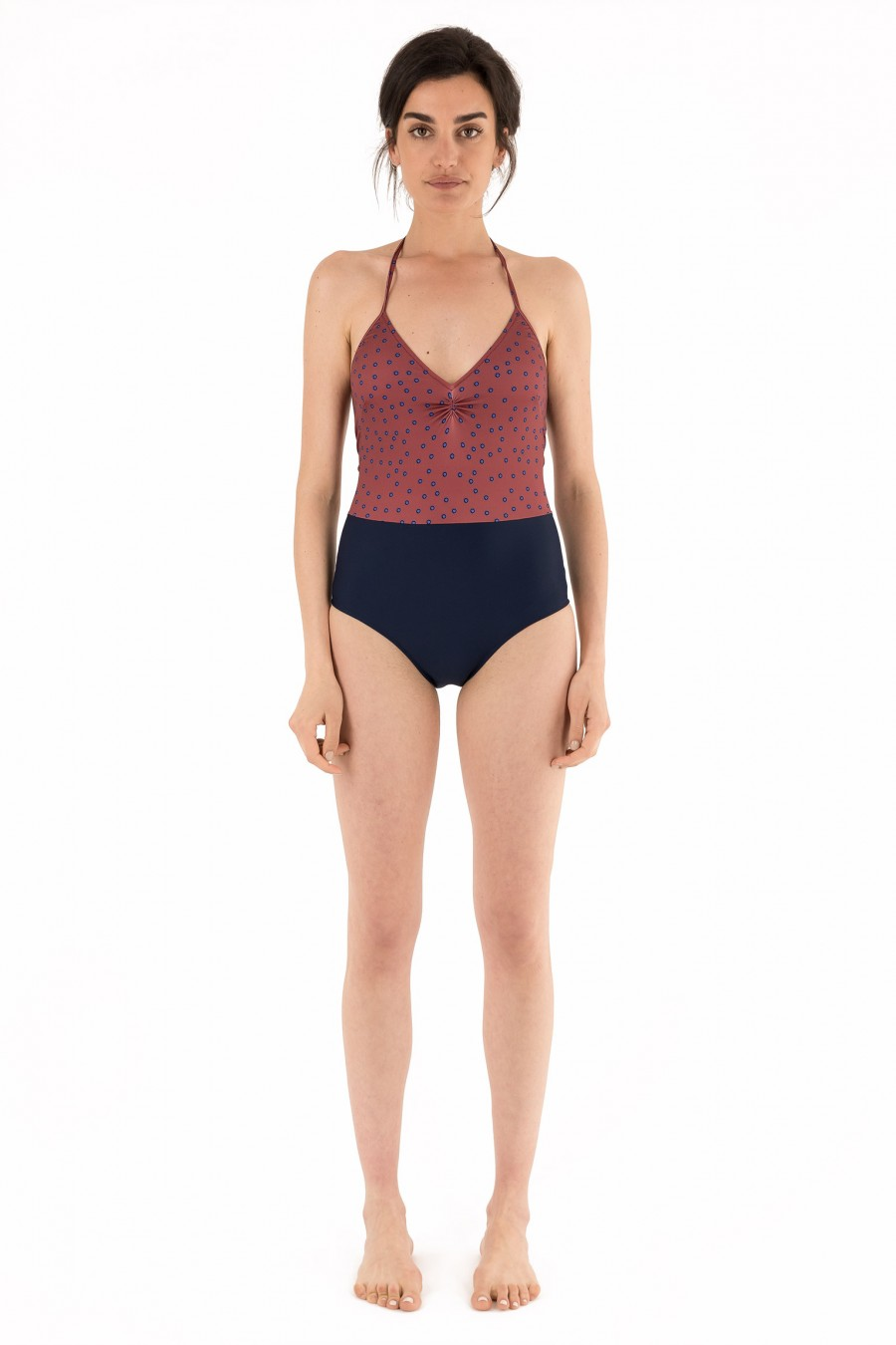 One-piece two-tone swimsuit