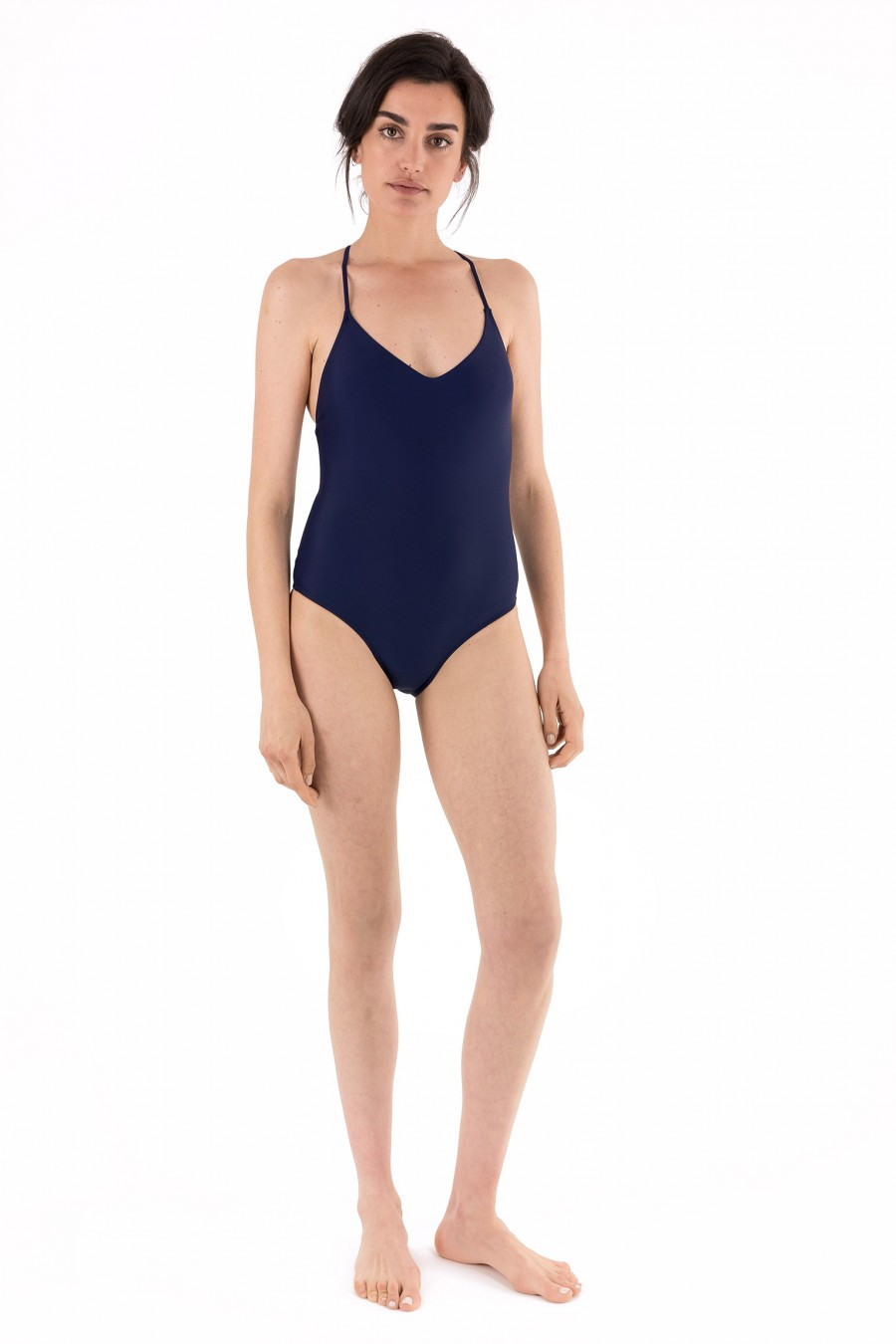 One-piece swimsuit with crossed shoulder straps