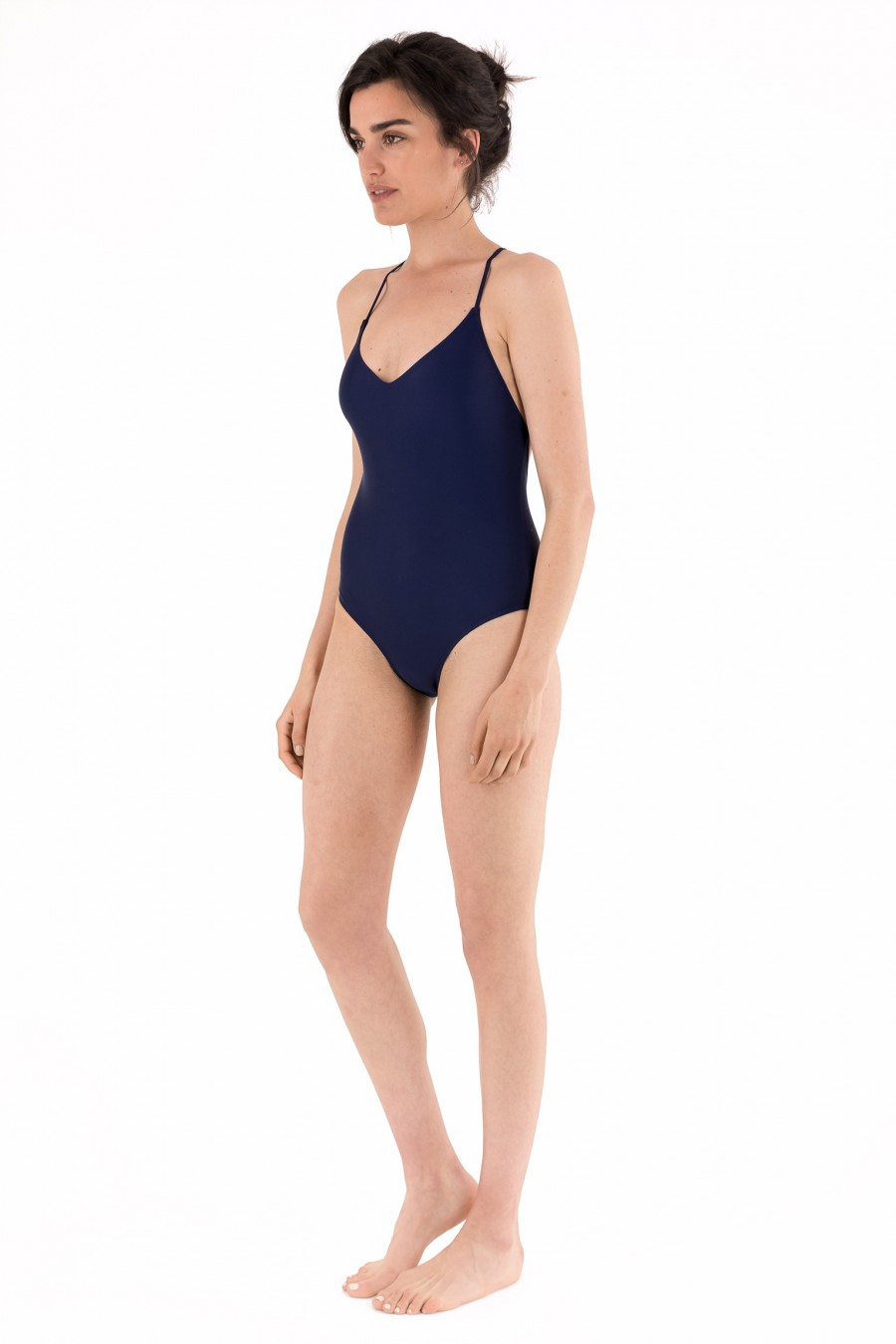 Blue one-piece swimsuit with thin straps