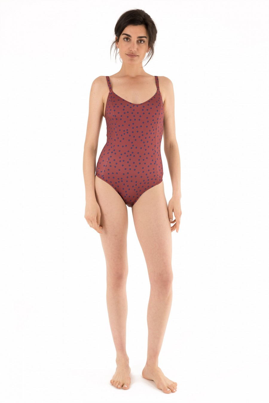 One-piece swimsuit with sides