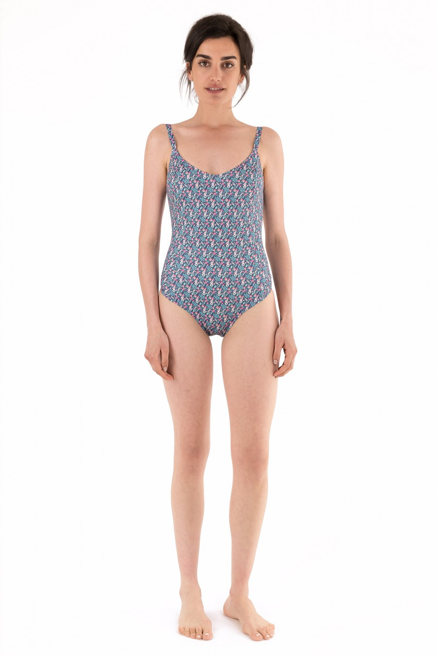 One-piece swimsuit with green leaves