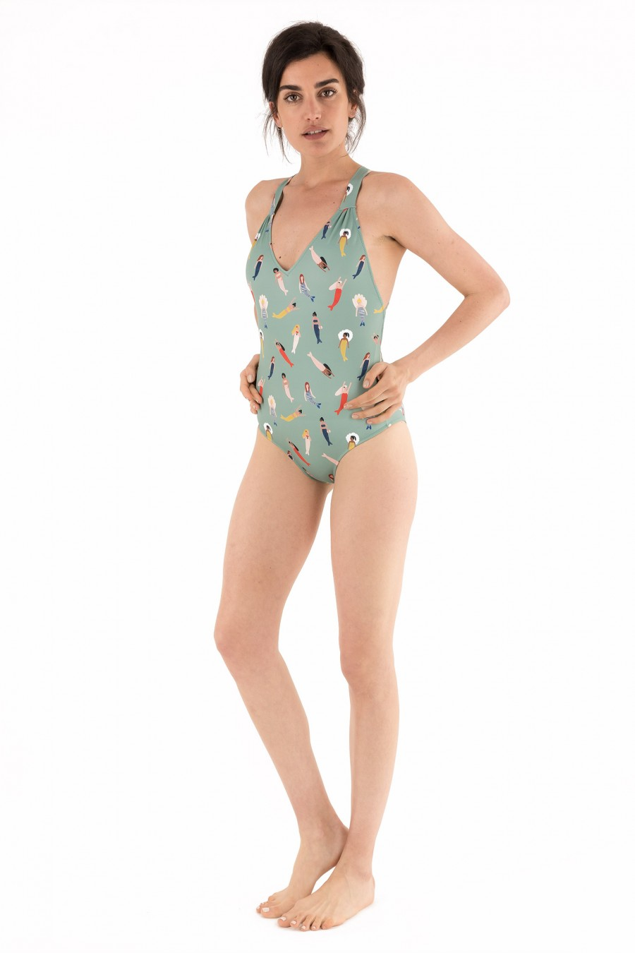 Mint one-piece swimsuit with mermaids