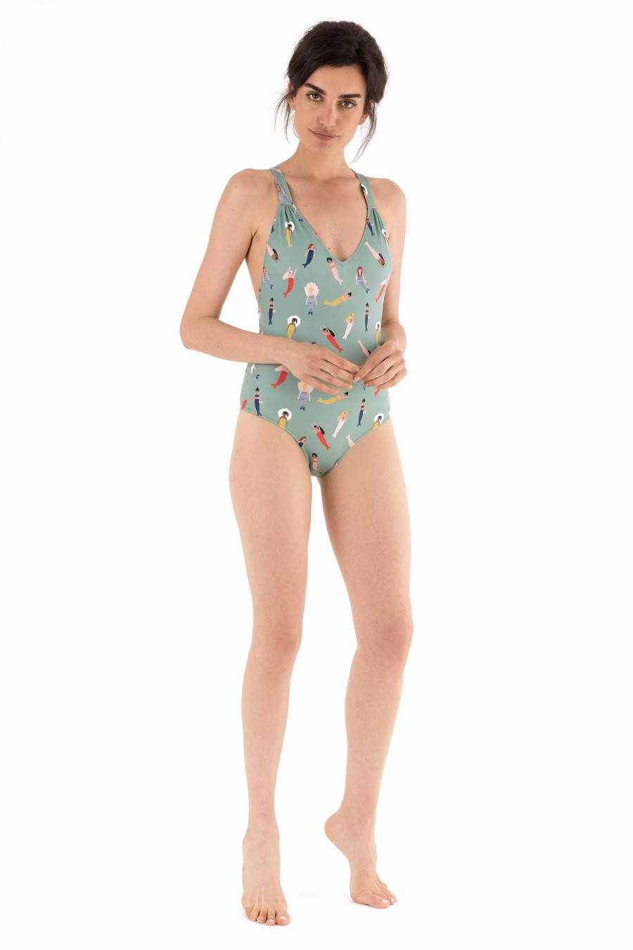 One-piece swimsuit illustrated by Kate Pugsley