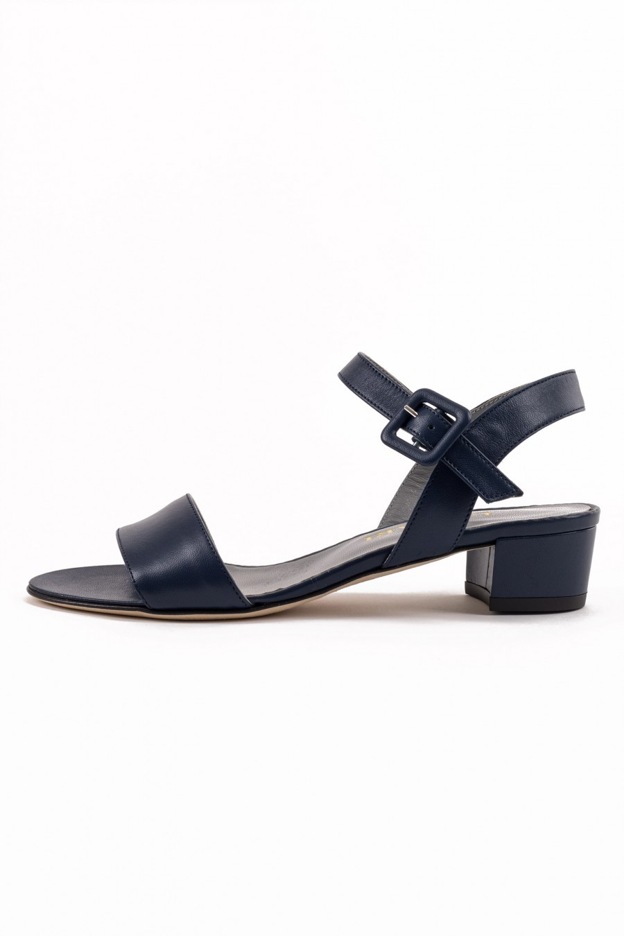 Blue sandal with covered buckle
