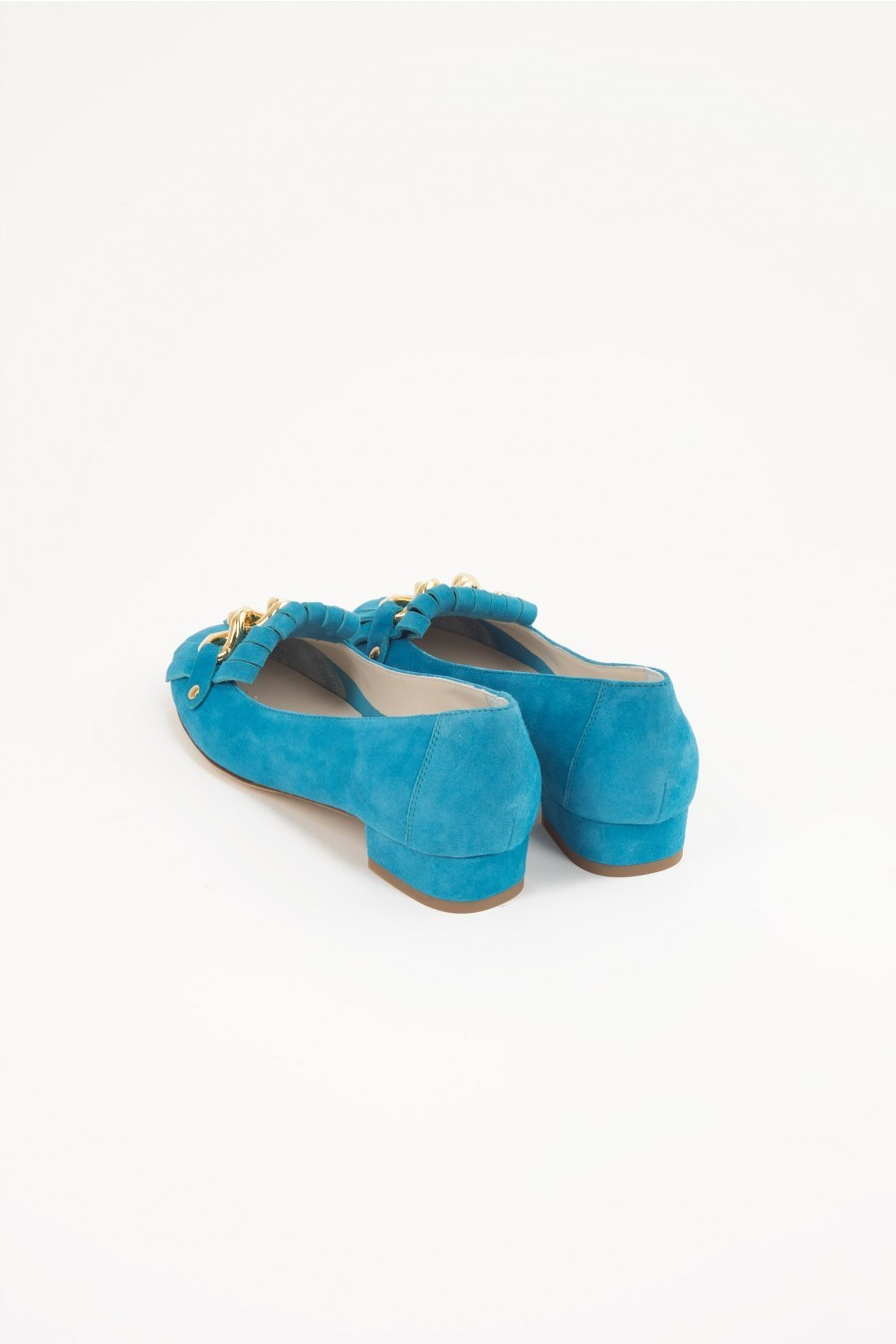 turquoise flat shoes gold chain Lazzari