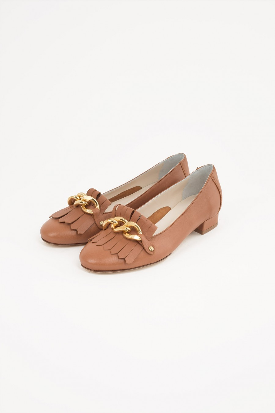 flat shoes leather color