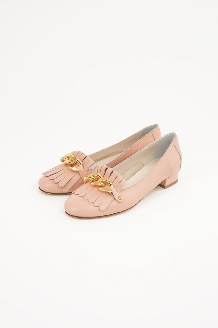 frienged flat shoes pale pink