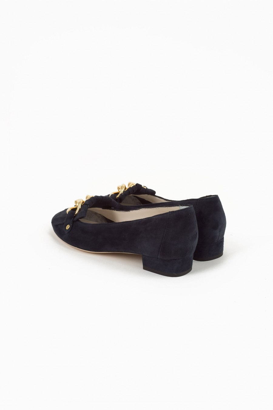 fringed flat shoes dark blue suede