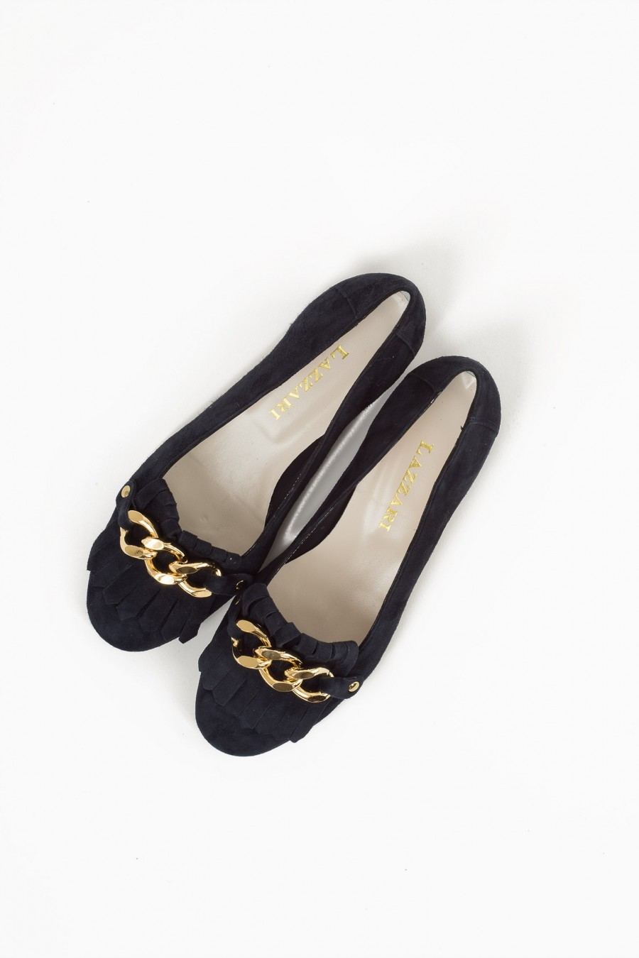 flat shoes blue chain