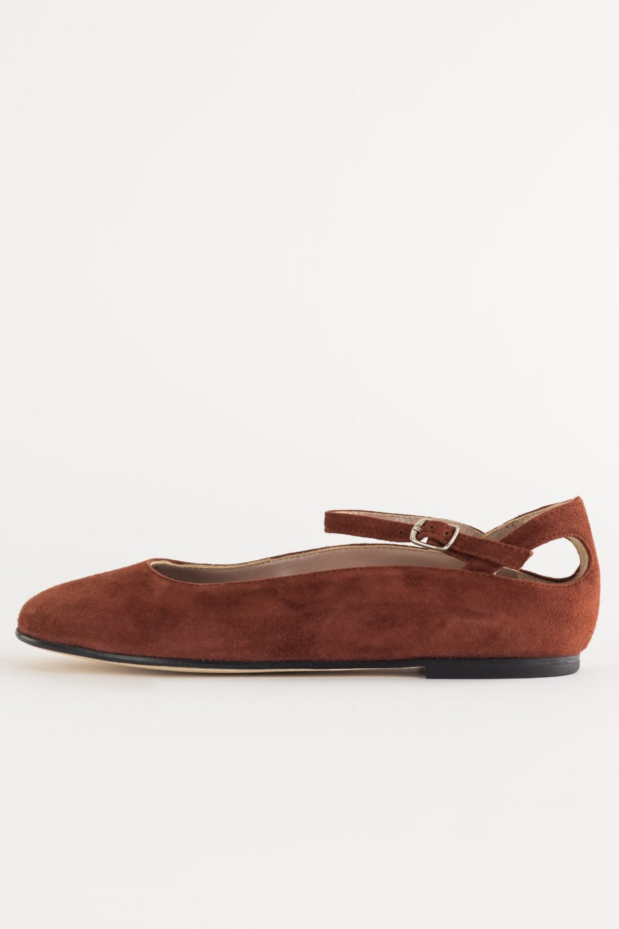 Suede flats with ankle straps
