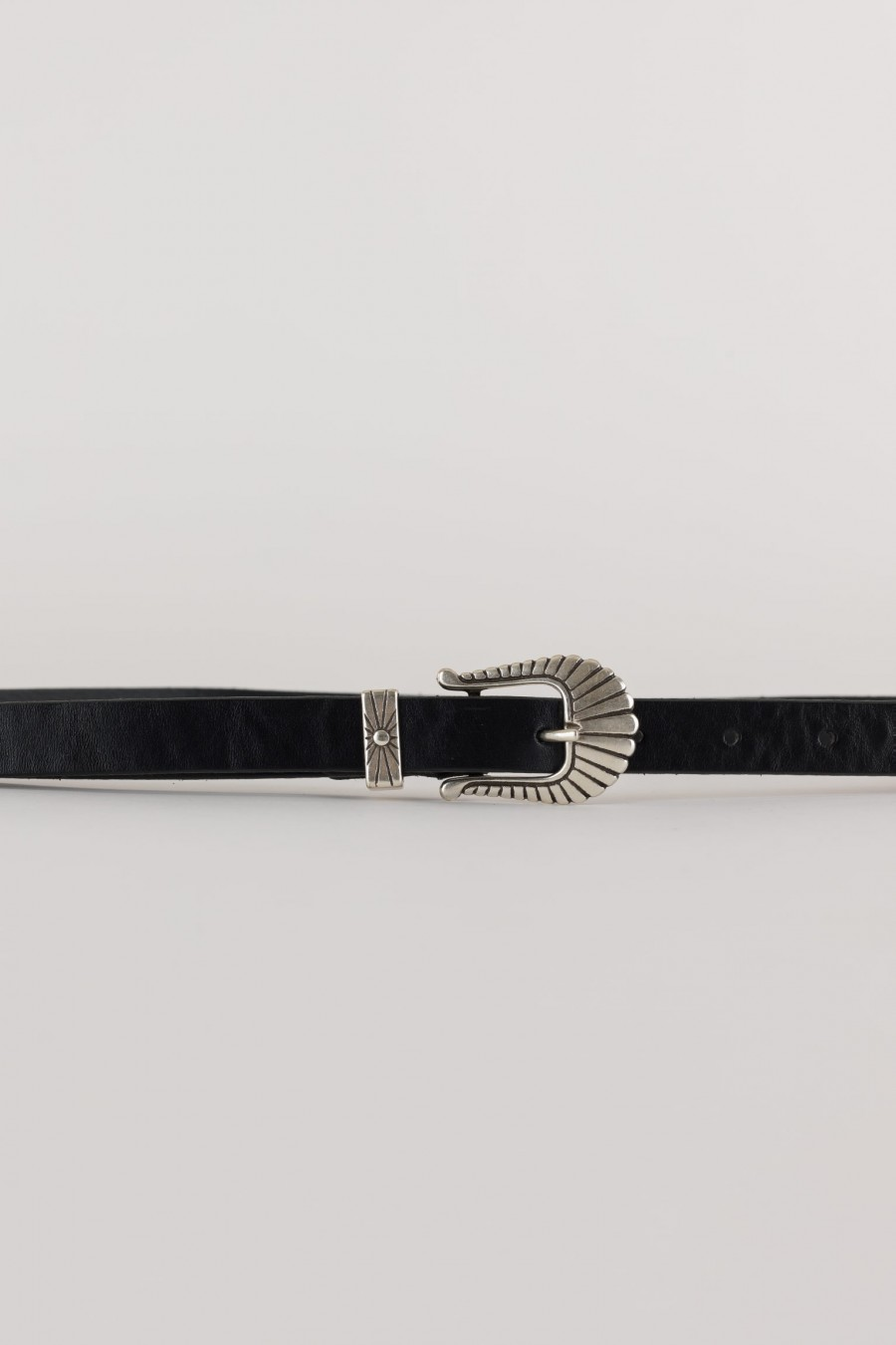 black folk leather belt made in italy
