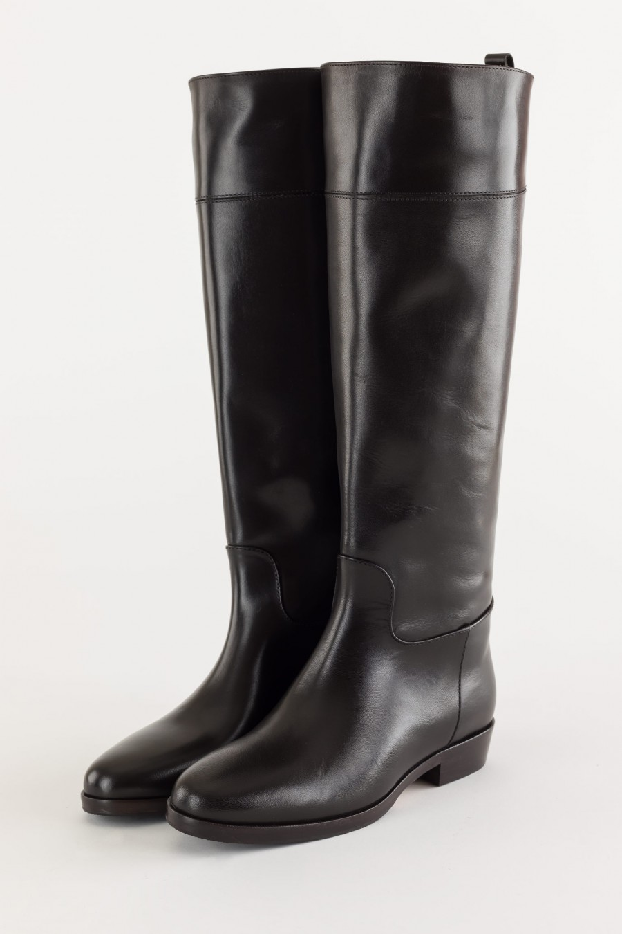 Deep brown tube boots