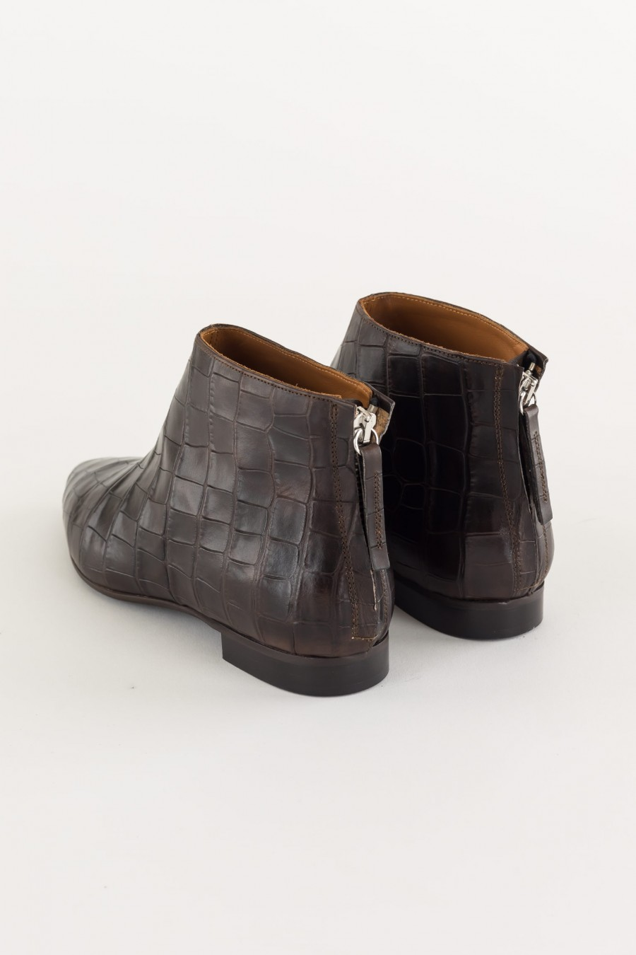 Dark brown ankle boots with back zip