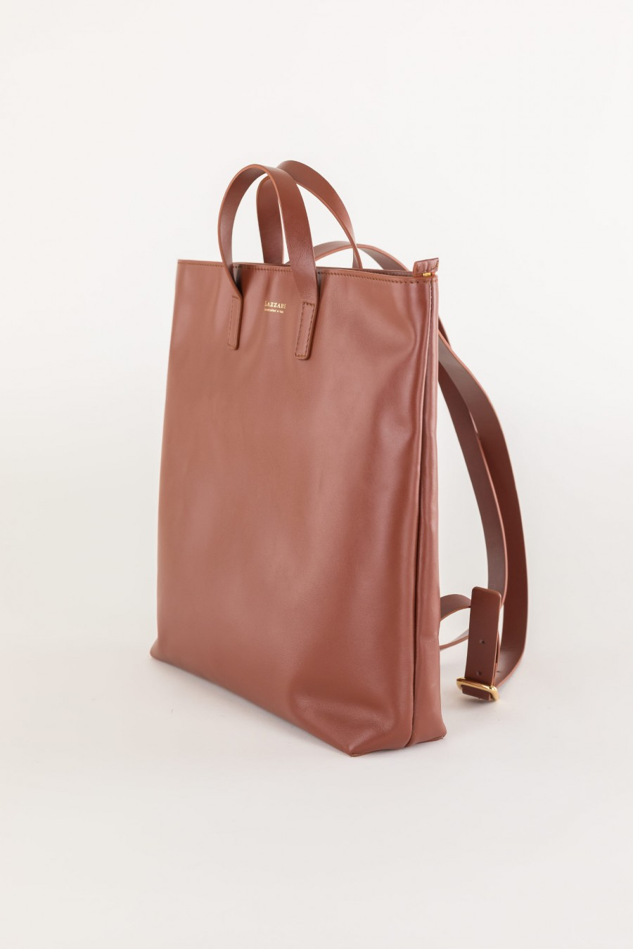 elegant brown leather backpack